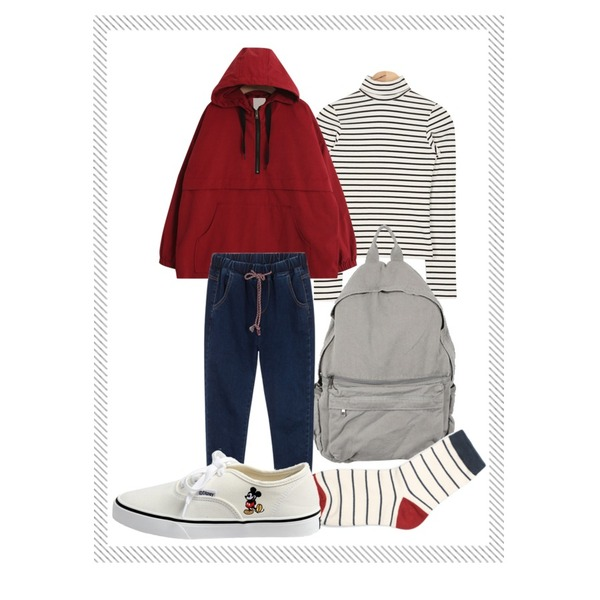 daily monday Pocket point backpack,Reine Mable Point-Color Socks,AIN tight simple stripe T (2 colors)등을 매치한 코디