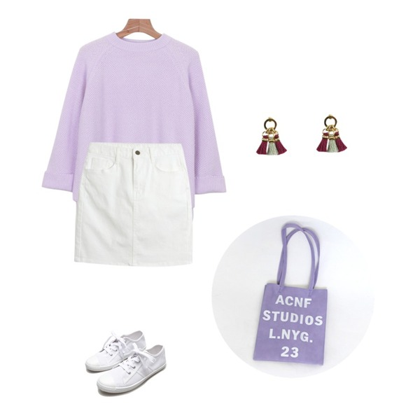 daily monday Wide sleeve spring knit,Reine Canvas Simple Making Sneakers,TODAY ME [skirt]수리 스커트등을 매치한 코디