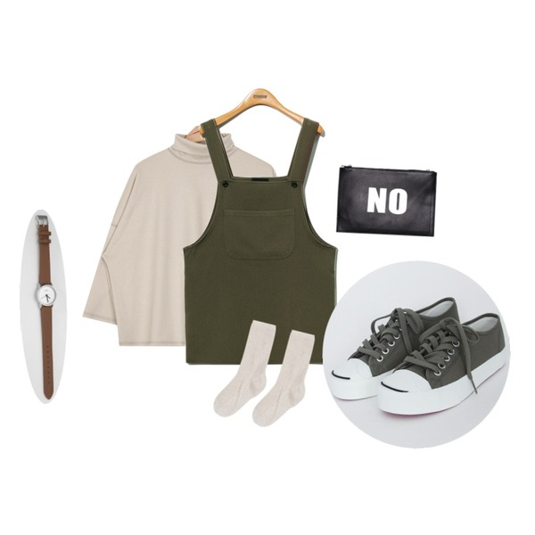 TODAY ME [shoes]멘토 슈즈,Reine Something Overall Onepiece,AIN high-neck sleeve T (3 colors)등을 매치한 코디