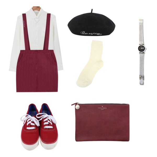 daily monday All day basic sneakers,MIXXMIX HIDE AND SEEK스트라이프 서스펜더 스커트네이비S 8일 입고 예정,daily monday Pocket button shirt등을 매치한 코디