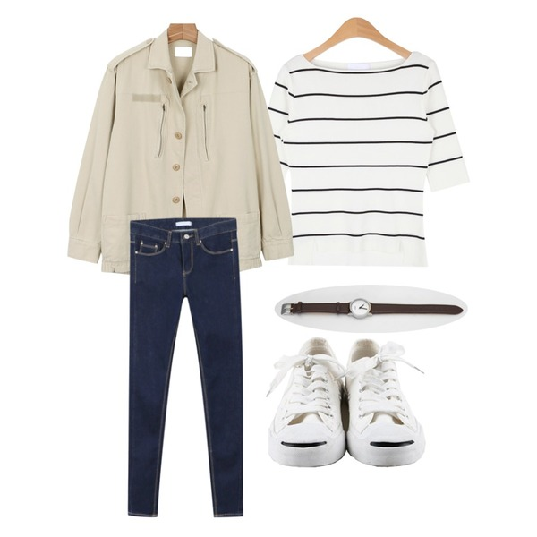 daily monday Outdoor cotton yasang,daily monday Tension slim skinny,AIN classy stripe knit 5 T (3 colors)등을 매치한 코디