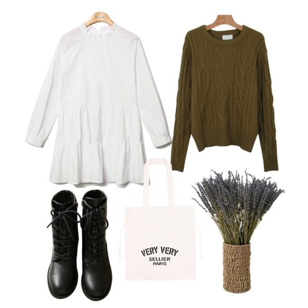 common unique [SHOES] SLIM LACE UP WALKER,daily monday Cosy twist knit,Reine Purity Shirring Collar Onepiece 등을 매치한 코디