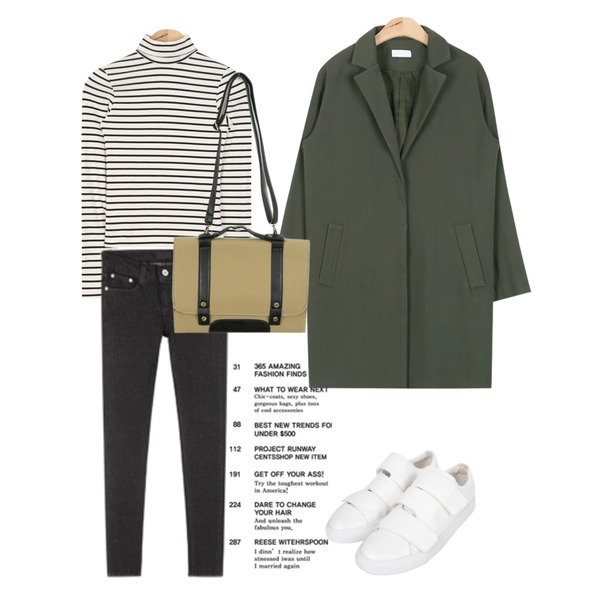 Untitled,AIN acne classic modern jacket (2colors),AIN tight simple stripe T (2 colors)등을 매치한 코디