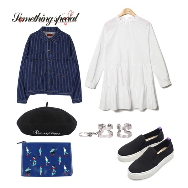 11,biznshoe Boxy stripe denim jacket,Reine Purity Shirring Collar Onepiece 등을 매치한 코디