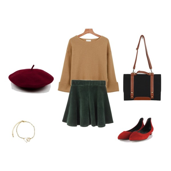 AIN edge suede flat shoes (6 colors),MIXXMIX 코듀로이 데이 스커트,daily monday Roll up wool knit등을 매치한 코디