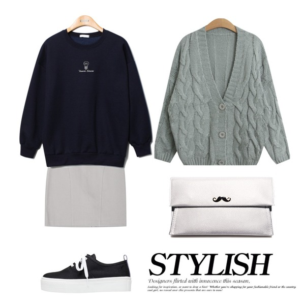 biznshoe Basic platform sneakers (3color),AIN feminine mood H-line midi skirt (3 colors),Reine Edition Vivid-Color Sweat Shirts등을 매치한 코디