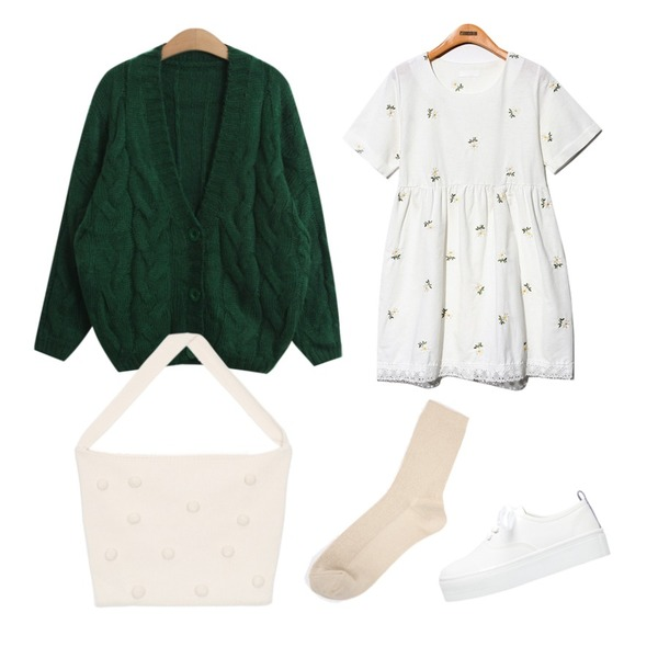 Reine Vintage Flower Lace Onepiece,AIN bubble knit bag (4 colors),TODAY ME [cardigan]미우 가디건등을 매치한 코디