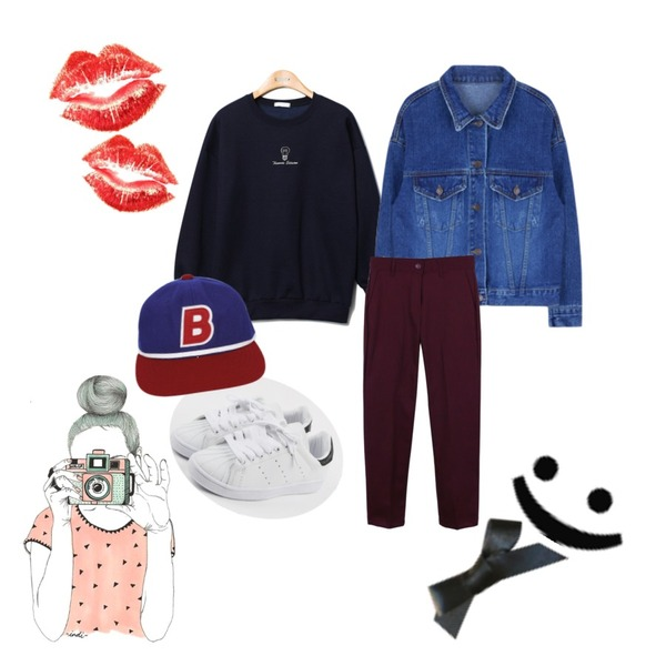 daily monday Mix and slacks,MIXXMIX 490 데님 자켓,Reine Edition Vivid-Color Sweat Shirts등을 매치한 코디