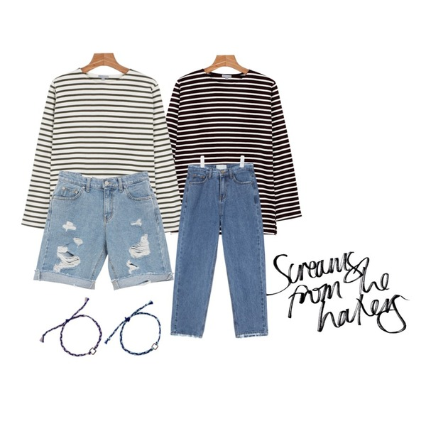 @thewriting,daily monday Another color stripe tee,daily monday Another color stripe tee등을 매치한 코디