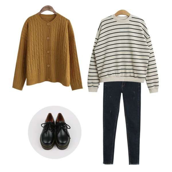 common unique  TWIST BOXY CARDIGAN,daily monday Vintage washing denim skinny,TODAY ME [mtm]브랜뉴 단가라티등을 매치한 코디