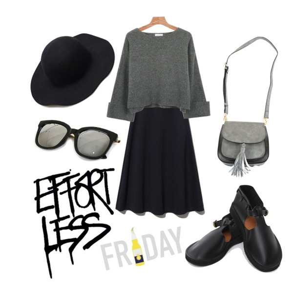 Reine Hepburn Flare Skirt ,daily monday Roll up wool knit,TODAY ME [shoes]핸나 슈즈등을 매치한 코디