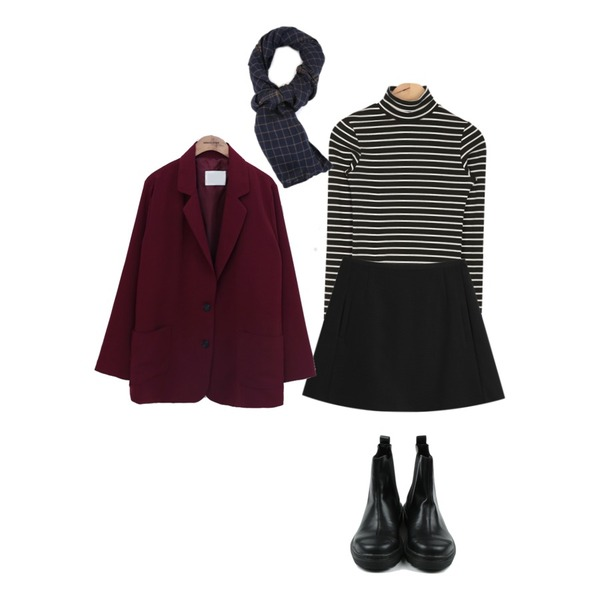 TODAY ME [skirt]하이걸 스커트,common unique [OUTER] MICA SINGLE JACKET,AIN tight simple stripe T (2 colors)등을 매치한 코디