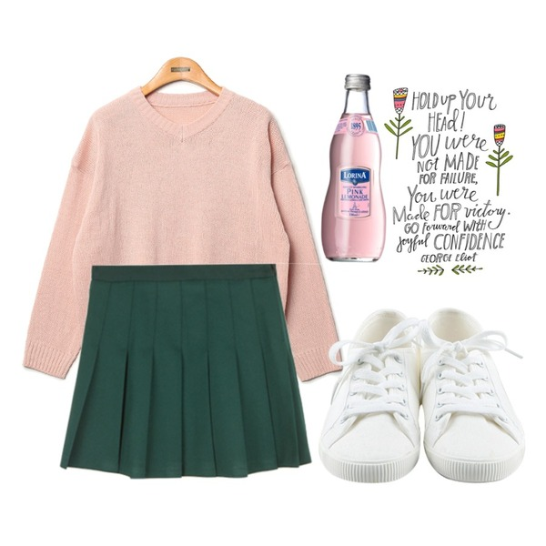 daily monday Basic tennis shoes,MIXXMIX 네르반 테니스 스커트,Reine Marni V-Neck Knit등을 매치한 코디