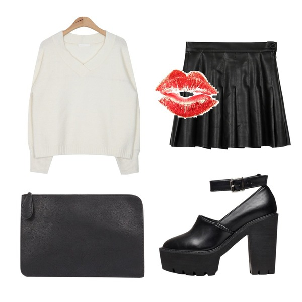 daily monday Fake leather tennis skirt,biznshoe Platform strap heel,AIN dry color V bubble knit (4 colors)등을 매치한 코디