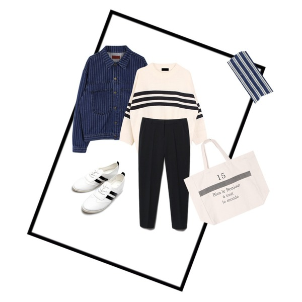 tangle frame,biznshoe 3-stripe knit (3color),biznshoe Boxy stripe denim jacket등을 매치한 코디