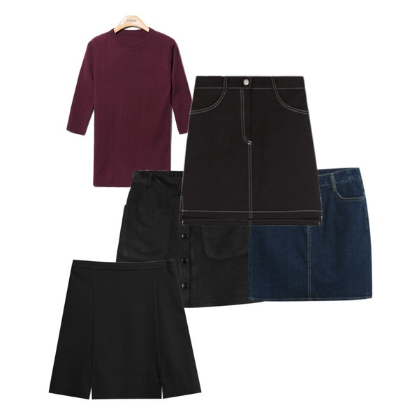 TODAY ME [skirt]캣츠 스커트,Reine Powder Slim Fit Knit Tee,daily monday Suede banding skirt등을 매치한 코디