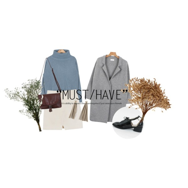 daily monday Tassel two-way clutch,AIN isabel full turtleneck sweater (3 colors),daily monday Front slit mini skirt등을 매치한 코디