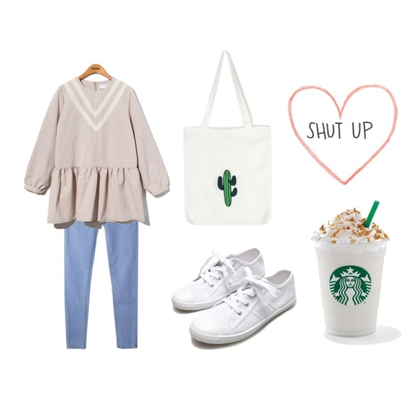 MIXXMIX 데일리 데님 팬츠,Reine V-Point Over Onepiece,Reine Canvas Simple Making Sneakers등을 매치한 코디