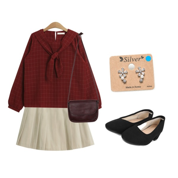 TODAY ME [skirt]애쉬 치마팬츠,TODAY ME [blouses]비앤 블라우스,AIN suede middle heel (6 colors)등을 매치한 코디
