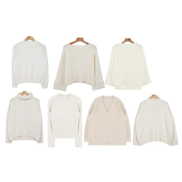 daily monday Wide raglan sleeve knit,daily monday Roll up wool knit,AIN soft touch easy knit (6 colors)등을 매치한 코디