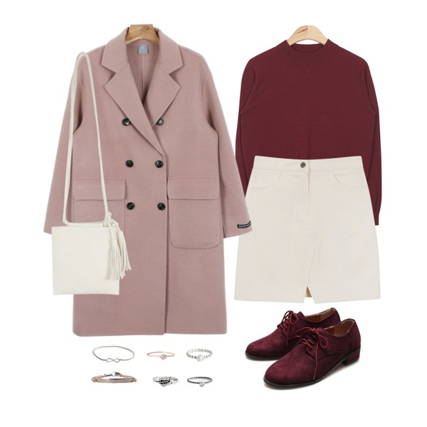 daily monday Front slit mini skirt,daily monday Handmade wool coat,AIN soft touch easy knit (6 colors)등을 매치한 코디