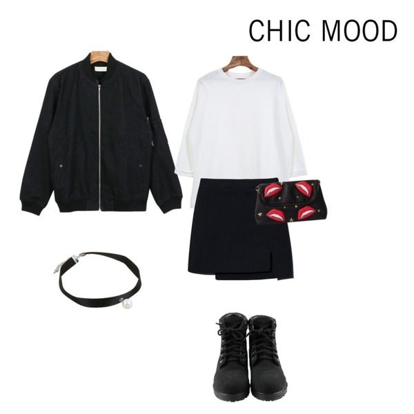 Reine Lua Twim H-Line Skirt,daily monday Black denim blouson,Zemma World 롤업박스 (t)등을 매치한 코디