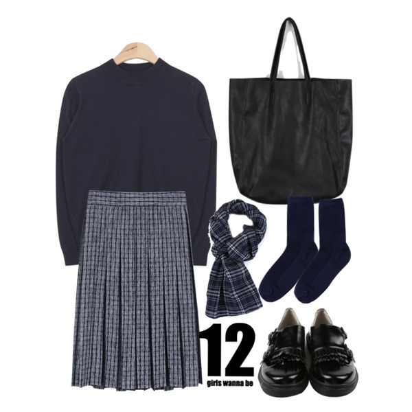 daily monday Fringe low loafer,AIN soft touch easy knit (6 colors),daily monday Check pleats midi skirt등을 매치한 코디