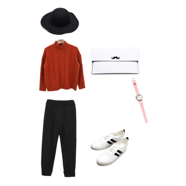 daily monday Casio two-color denim watch,Reine Rose Wool Fedora,daily monday Knit trainning pants등을 매치한 코디