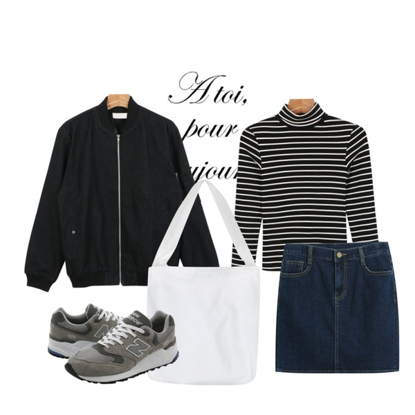 type,TODAY ME [skirt]캣츠 스커트,daily monday Tight stripe pola tee등을 매치한 코디
