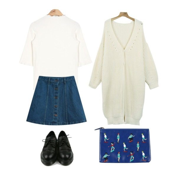 TODAY ME [skirt]루니 데님스커트,daily monday Vintage point loafer,AIN ruffle point slim T (4 colors)등을 매치한 코디