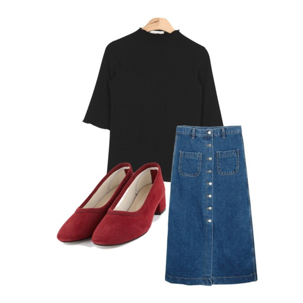 daily monday Denim button long skirt,AIN suede middle heel (6 colors),AIN ruffle point slim T (4 colors)등을 매치한 코디
