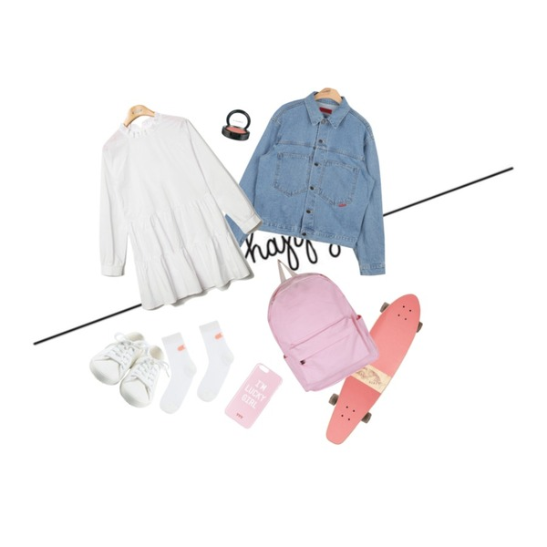 be happy,Pink Cruiser Board,AIN vintage outfit denim jacket (2 colors)등을 매치한 코디