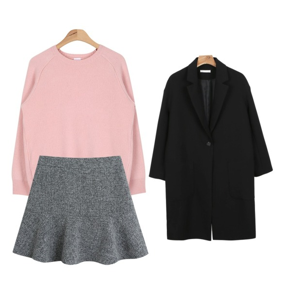 TODAY ME [skirt]이즈굿 스커트,AIN high quality wool knit (5 colors),daily monday One pocket long coat등을 매치한 코디