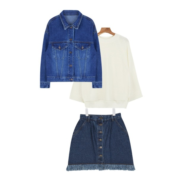 AIN vintage mood cut line denim skirt,daily monday Wide raglan sleeve knit,MIXXMIX 490 데님 자켓등을 매치한 코디