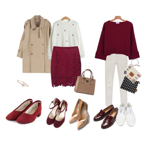 MIXXMIX HASNatural trench coat런칭기념 10% 할인,daily monday Basic cotton color skinny,TODAY ME [knit]체리콕 니트등을 매치한 코디