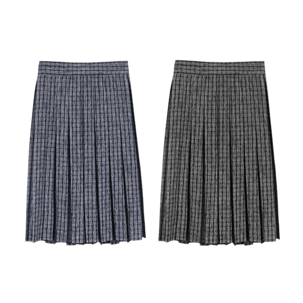 daily monday Check pleats midi skirt,daily monday Check pleats midi skirt등을 매치한 코디