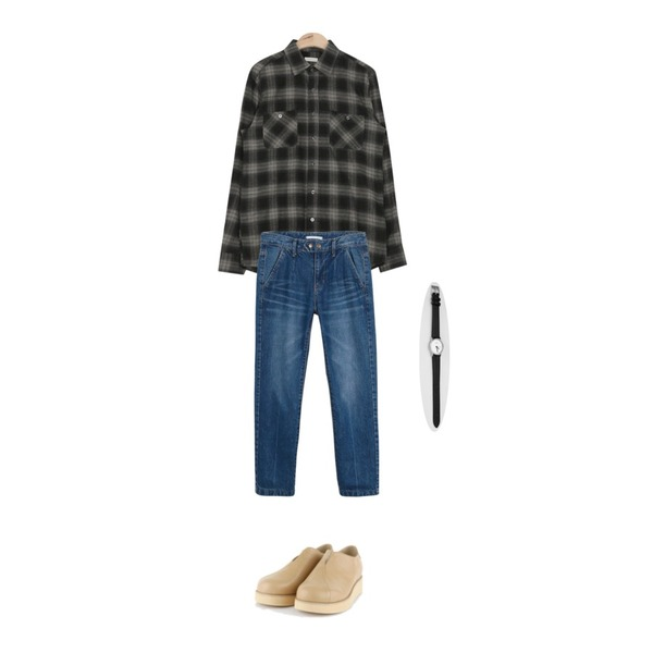daily monday Pintuck straight denim pants,AIN unique v-line loafer (3 colors),AIN warm touch check shirt (3 colors)등을 매치한 코디