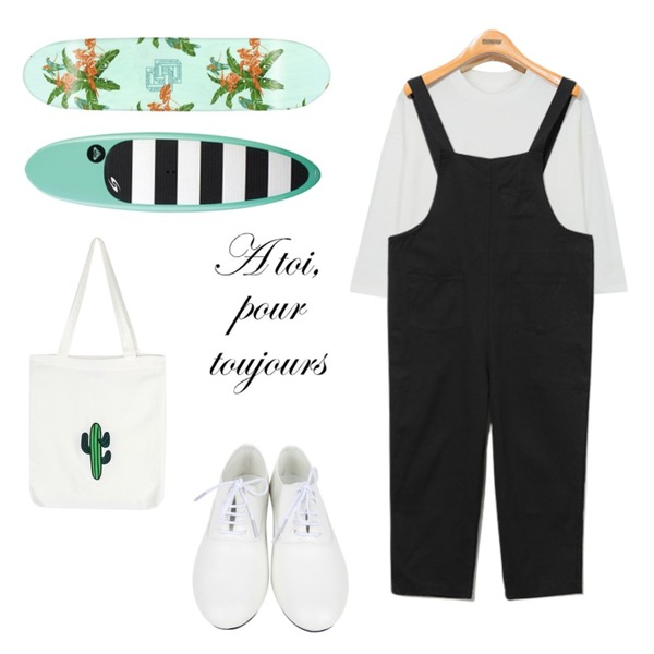 AIN dancing loafer (2 colors),Reine Tom Suspender Pants,daily monday More than tee등을 매치한 코디