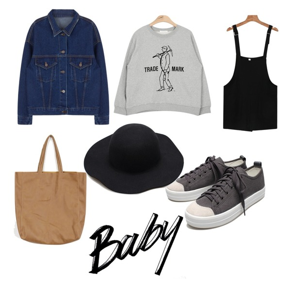 daily monday Pocket short overall,AIN mark boy napping mtm (3 colors),MIXXMIX 490 데님 자켓등을 매치한 코디