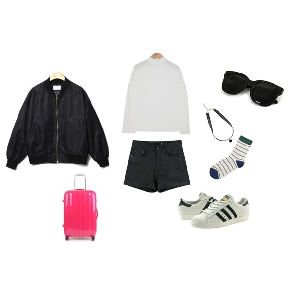 Reine French More Wide Jumper,daily monday Chic coating short pants,AIN mono color half-neck T (5 colors)등을 매치한 코디