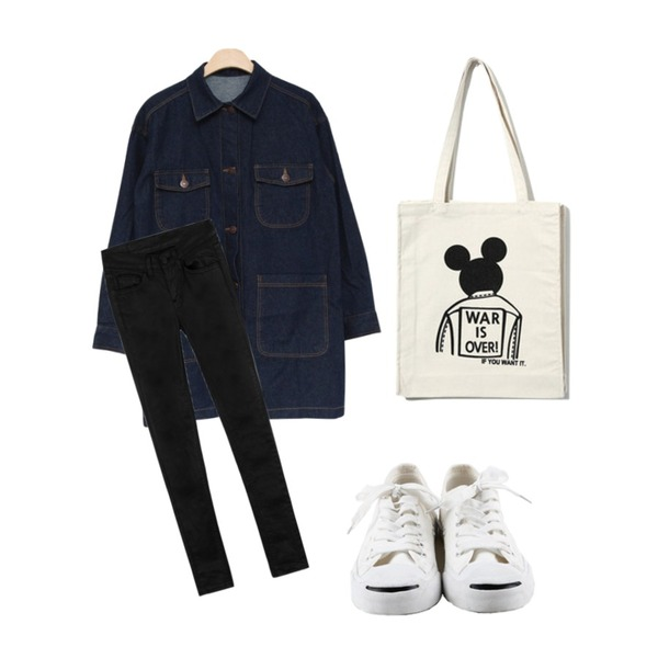 daily monday Easy smail sneakers,Reine Sulky Mickey Eco Bag,MIND ME 데님 롱 자켓등을 매치한 코디
