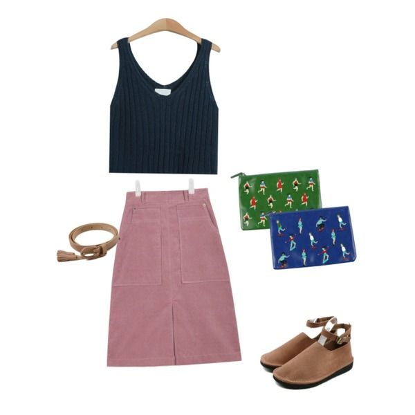 TODAY ME [sleeveless]안쏘니 니트나시,daily monday Buckle suede round shoes,AIN corduroy middle warm skirt (3 colors) 등을 매치한 코디