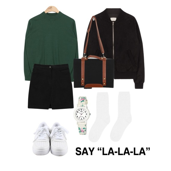 daily monday Simple white sneakers,daily monday Front slit mini skirt,AIN soft touch easy knit (6 colors)등을 매치한 코디