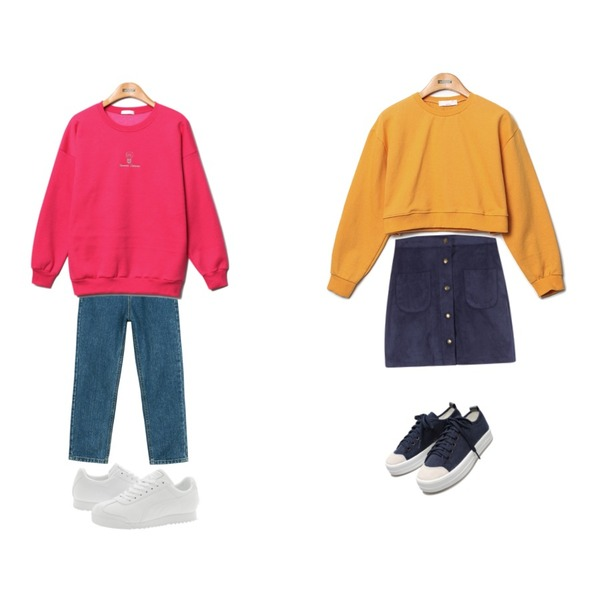 Reine Run&Run Neat Sneakers,Reine Sugar Crop Sweat Shirts,MIXXMIX 타니아 버튼 스커트등을 매치한 코디