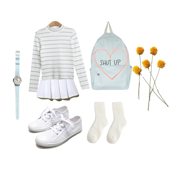 Reine Ice Slushie Nanny Flare Skirt,Reine Canvas Simple Making Sneakers,AIN apparel color backpack (4 colors)등을 매치한 코디
