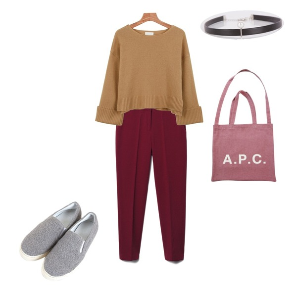 Zemma World 몽글몽글 (shoes),daily monday Roll up wool knit,Reine Someday Color Slacks등을 매치한 코디