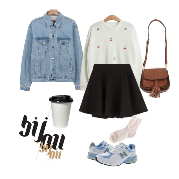 daily monday Boxy basic denim jacket,biznshoe Pastel color socks (7color),TODAY ME [knit]체리콕 니트등을 매치한 코디