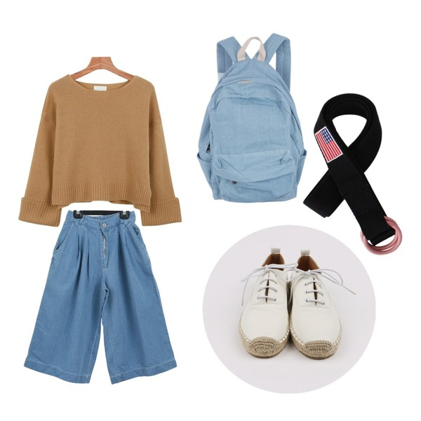daily monday Straw oxford shoes,Salon de byme 와이드 데님 pt ( 연청 , 진청 ),daily monday Roll up wool knit등을 매치한 코디