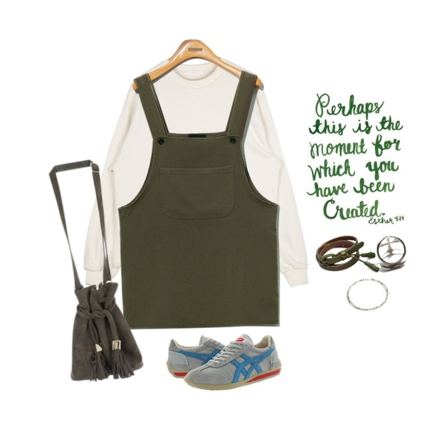 green words,Reine Something Overall Onepiece,AIN over fit drop mtm (5 colors)등을 매치한 코디
