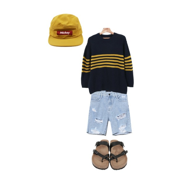 daily monday Mickey point camp cap,Reine Conjuring Scratch Denim Pants,Zemma World 반트 (knit)등을 매치한 코디